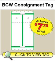 BCW Consignment Tag 2.375 X 3.375 Split - 1