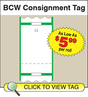 BCW Consignment Tag 1.5625 X 2.375 - 1